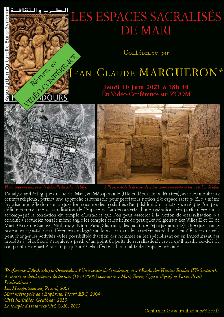 Conférence - LES ESPACES SACRALISES DE MARI - Troubadours - Jean-Claude Margueron